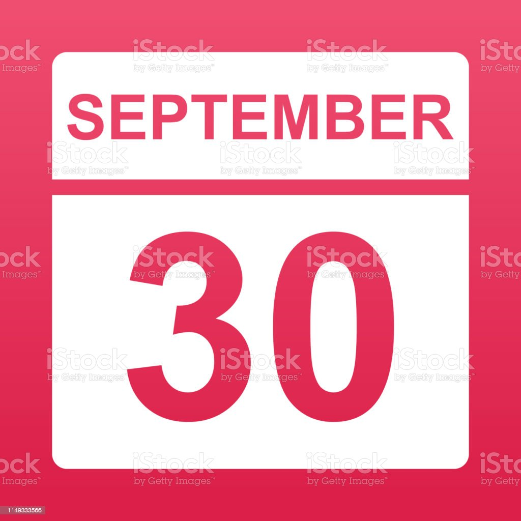 September 30. White calendar on a colored background. Day on the...