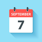 September 7. Calendar Icon with long shadow in a Flat Design style. Daily calendar isolated on blue background. Vector Illustration (EPS10, well layered and grouped). Easy to edit, manipulate, resize or colorize.