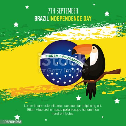 istock 7 september, banner of celebration brazil independence day with toucan 1262994968
