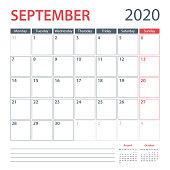 2020 September Calendar Planner Vector Template. Week starts Monday
