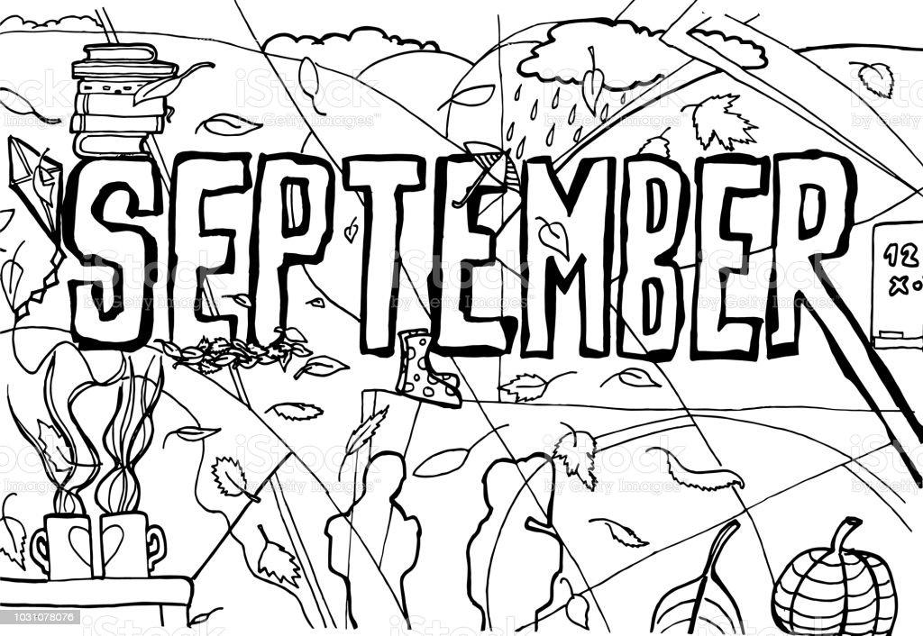 9 月のイラスト背景ぬりえのページ いたずら書きのベクターアート素材