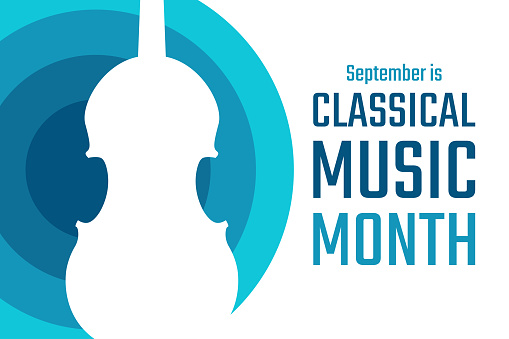 September is classical music month. Holiday concept. Template for background, banner, card, poster with text inscription. Vector EPS10 illustration.