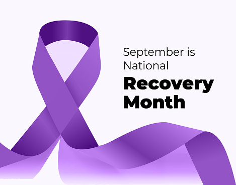 September is National Recovery Month. Vector illustration with ribbon on white background