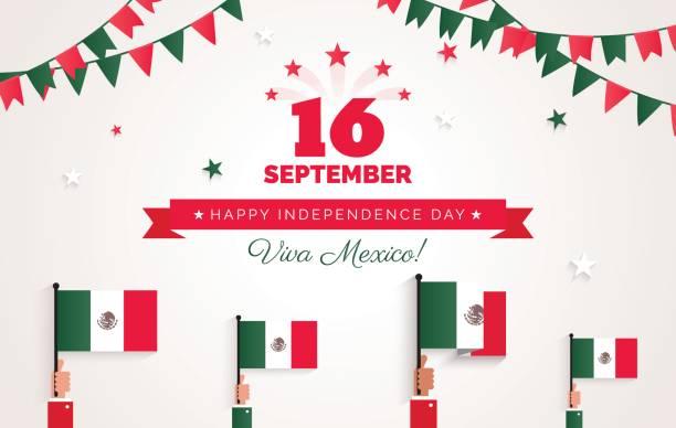 16 September. Mexiko Happy Independence Day-Grußkarte. – Vektorgrafik