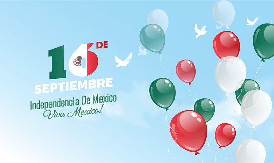 16 September. Mexico Happy Independence Day greeting card.