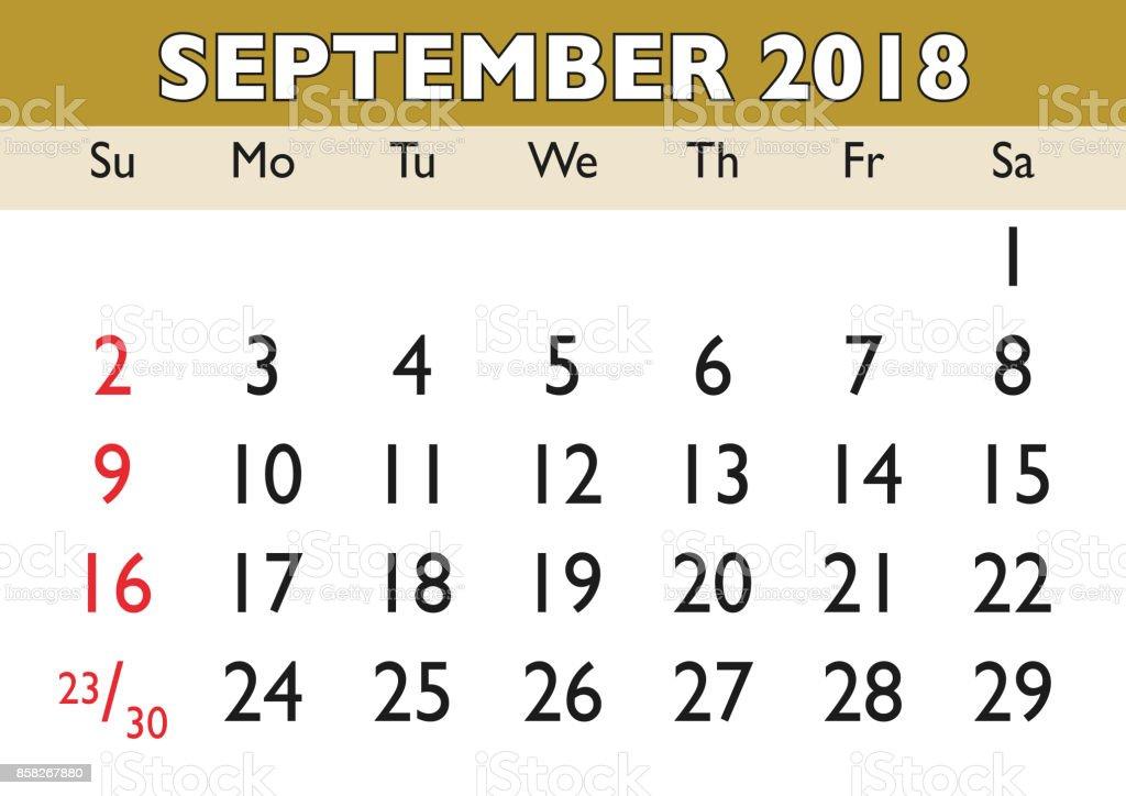 Calendario De Septiembre.Ilustracion De Mes De Septiembre Calendario 2018 Ingles Usa Y Mas
