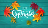 istock September text. Lettering typography. Vector illustration as poster, postcard, greeting card, invitation template. Concept September advertising 1267485165