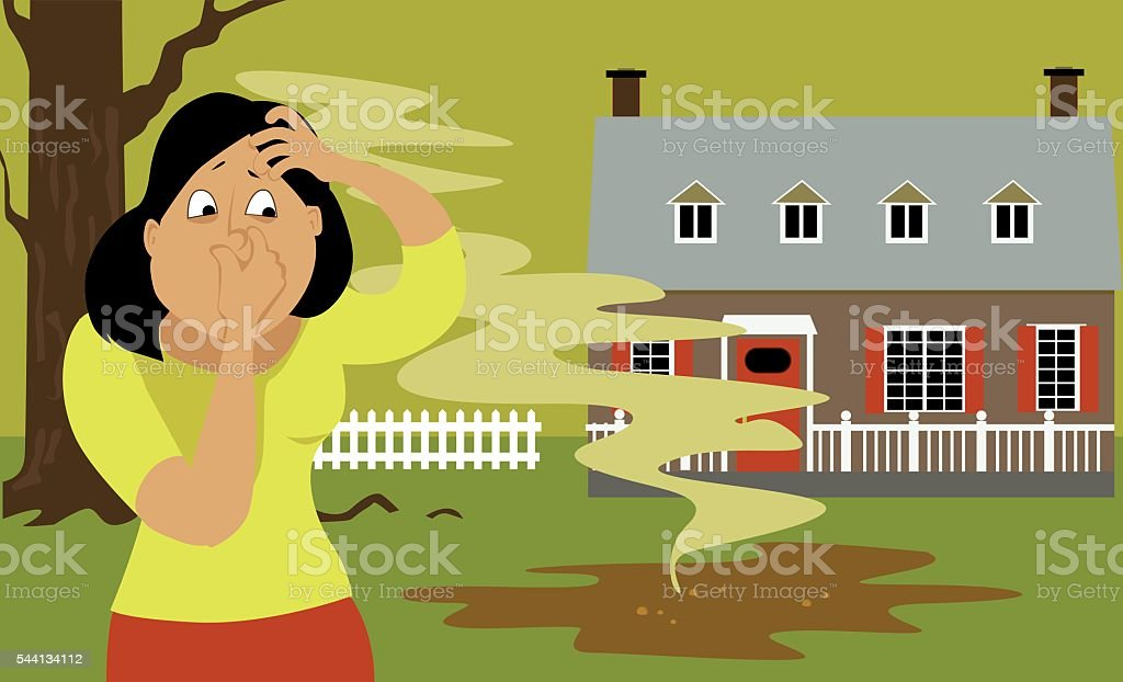 Septic tank problem vector art illustration