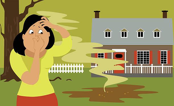Septic tank problem vector art illustration