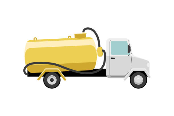 stockillustraties, clipart, cartoons en iconen met septic truck - zuigslang