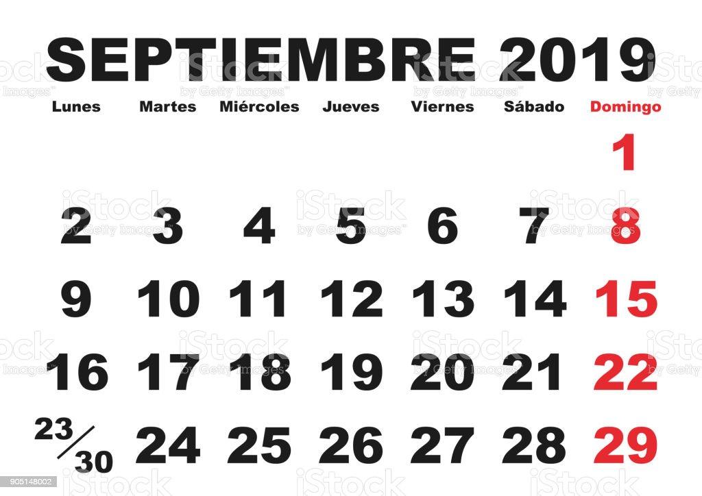 Calendario De Septiembre 2019 Para Imprimir Animado.Ilustracion De Septiembre 2019 Pared Calendario Espanol Y