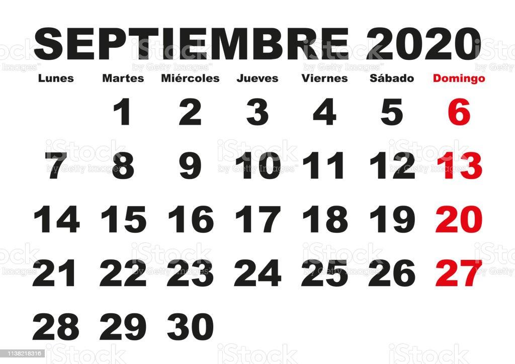 Calendario 2020 Con Le Settimane.Septiembre 2020 Wall Calendar Spanish Immagini Vettoriali