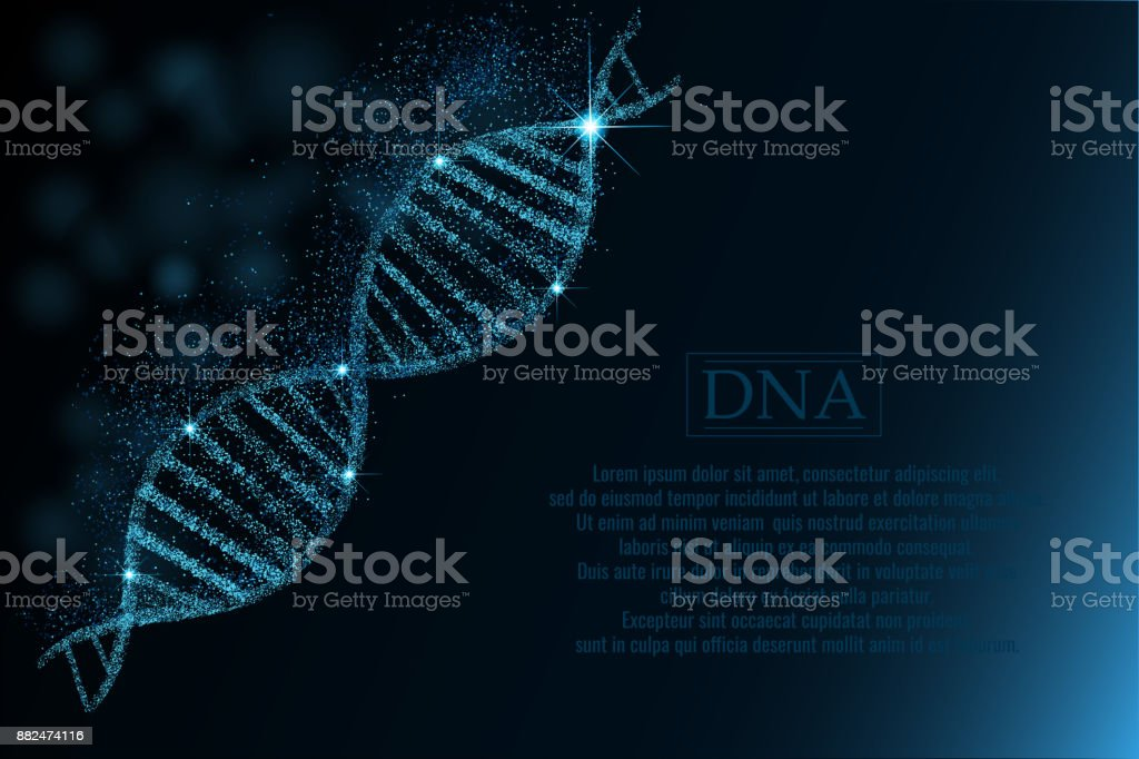 DNA sequence, DNA code structure with glow. vector art illustration