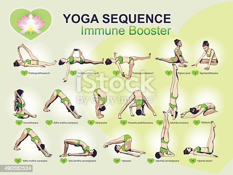 Yoga Sequence Immune Booster Stock Vector Art Amp More