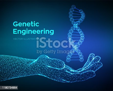 istock DNA sequence in hand. Wireframe DNA molecules structure mesh. DNA code editable template. Science and Technology concept. Vector illustration. 1180734954