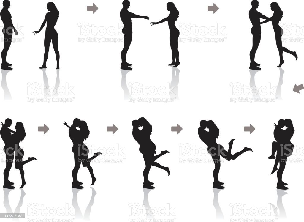 Sequence of a hug. Passionate Kiss royalty-free stock vector art