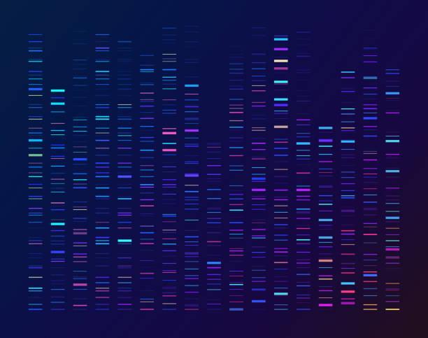 ilustraciones, imágenes clip art, dibujos animados e iconos de stock de secuenciación de datos análisis genómico genético - adn