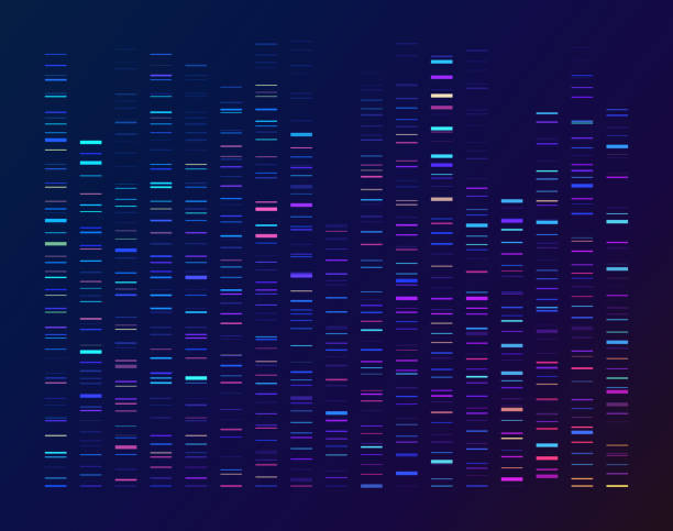 DNA Sequencing Data Processing Genetic Genomic Analysis DNA sequencing gel run science and data genomic genetic analysis background abstract pattern. genomics stock illustrations
