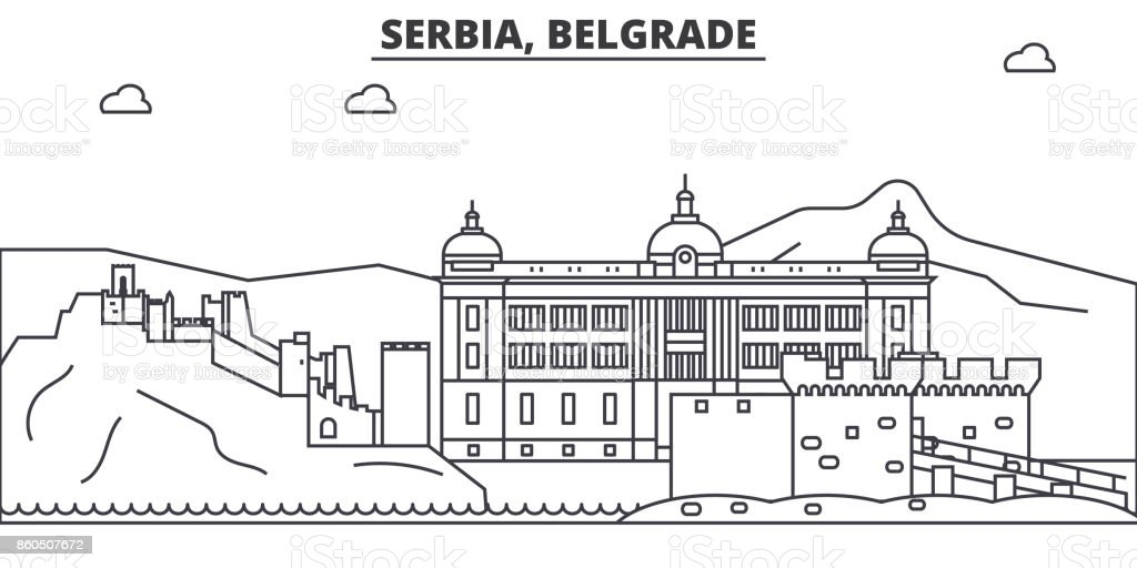 Serbia, Belgrade architecture line skyline illustration. Linear vector cityscape with famous landmarks, city sights, design icons. Landscape wtih editable strokes vector art illustration