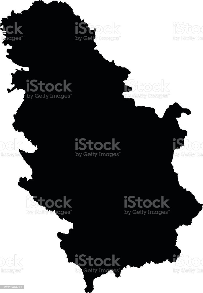 Serbia black map on white background vector royalty-free serbia black map on white background vector stock illustration - download image now