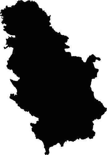 Serbia Black Map On White Background Vector Stock Illustration - Download Image Now