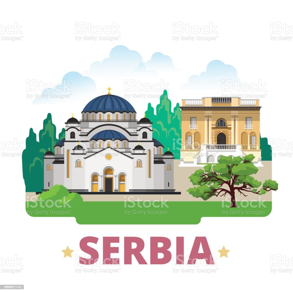 Serbia country design template. Flat cartoon style historic sight showplace web site vector illustration. World travel Europe European collection. Church of Saint Sava Nikola Tesla Museum in Belgrade. vector art illustration