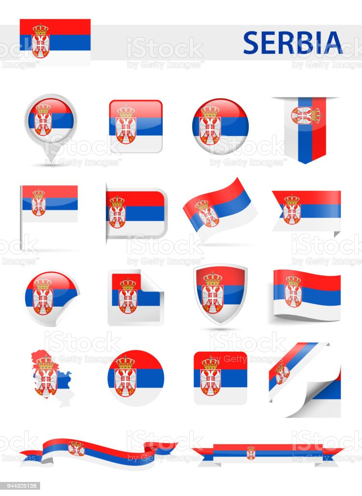 Serbia Flag Vector Set royalty-free serbia flag vector set stock illustration - download image now