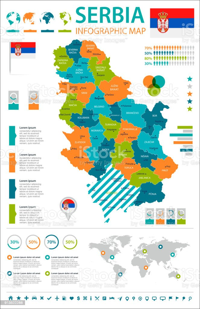 Serbia - infographic map and flag - Detailed Vector Illustration vector art illustration