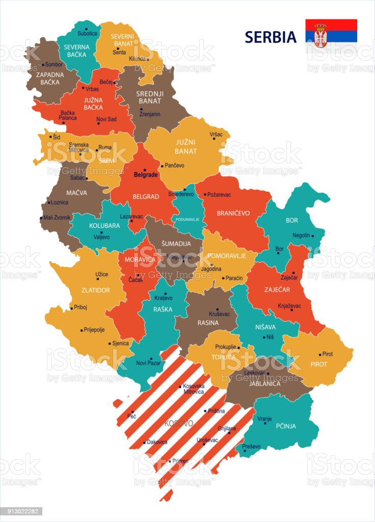 Serbia Map And Flag Detailed Vector Illustration Stock Vector Art