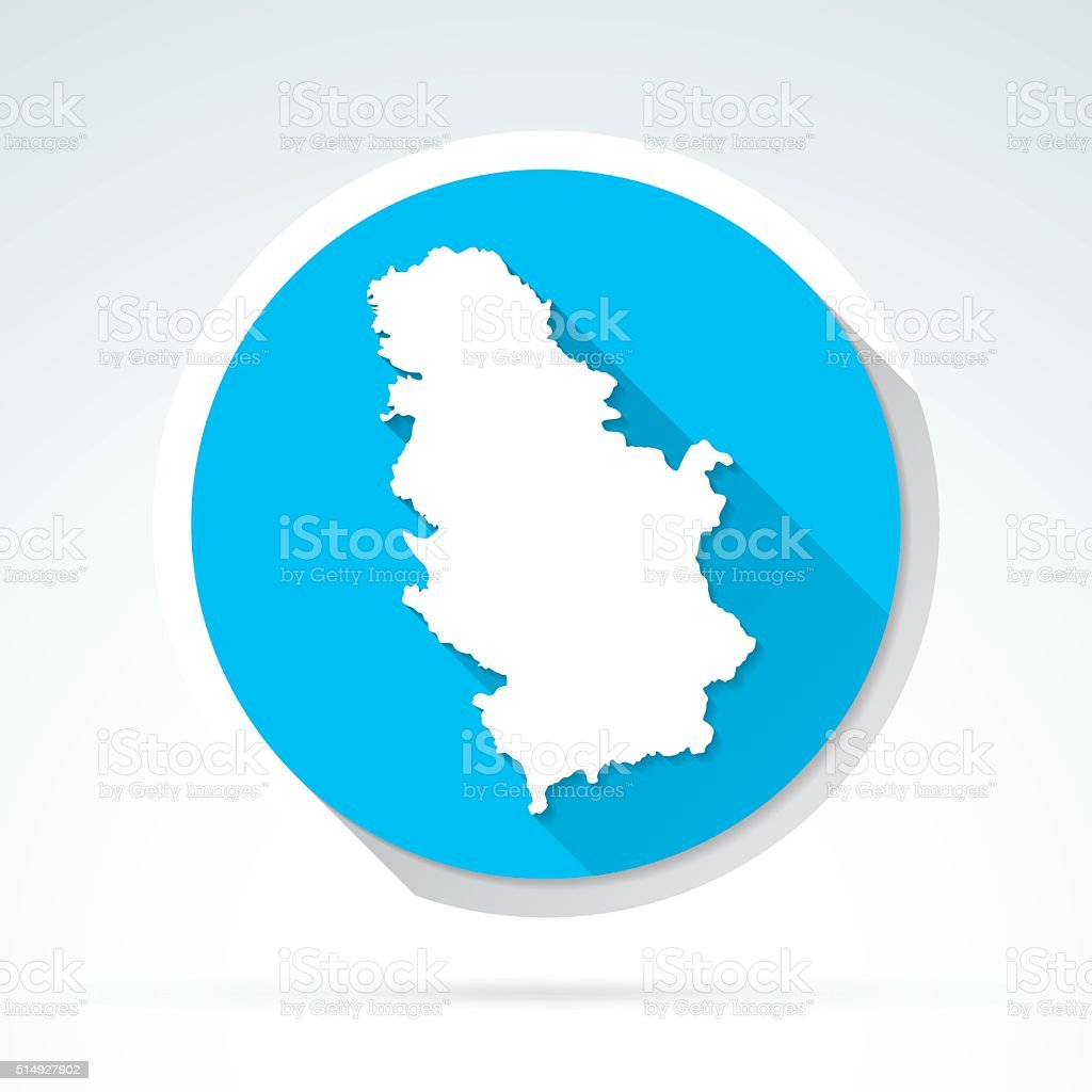 Serbia map icon, Flat Design, Long Shadow vector art illustration