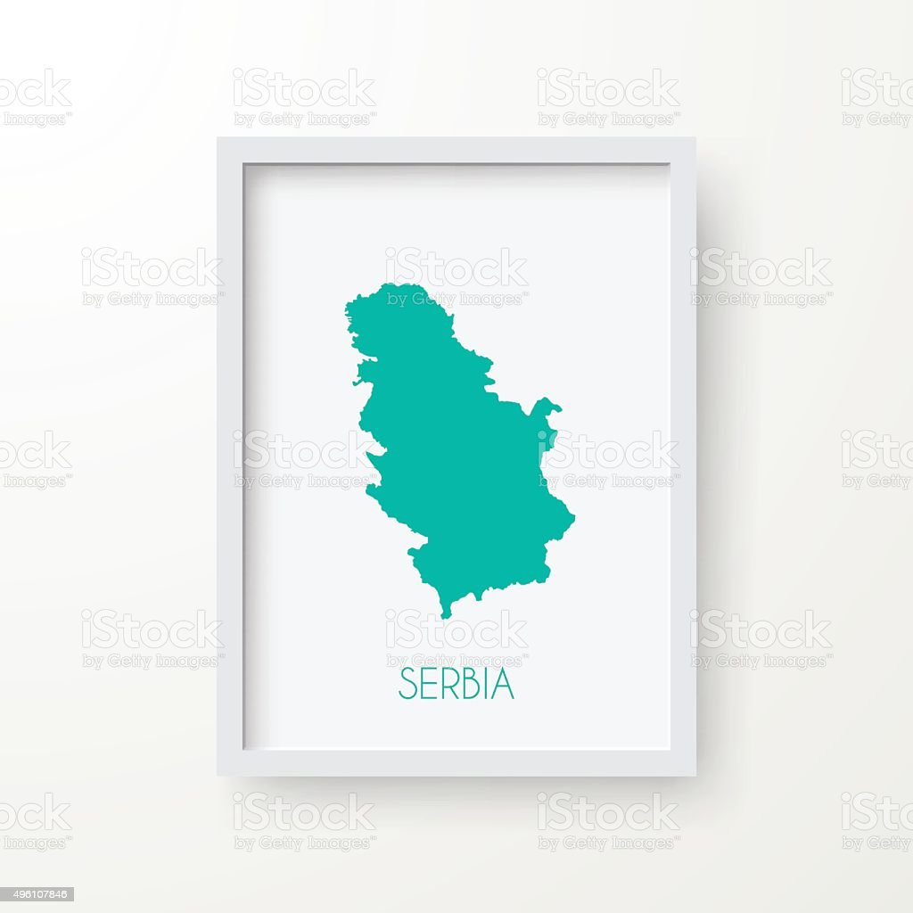 Serbia Map in Frame on White Background vector art illustration