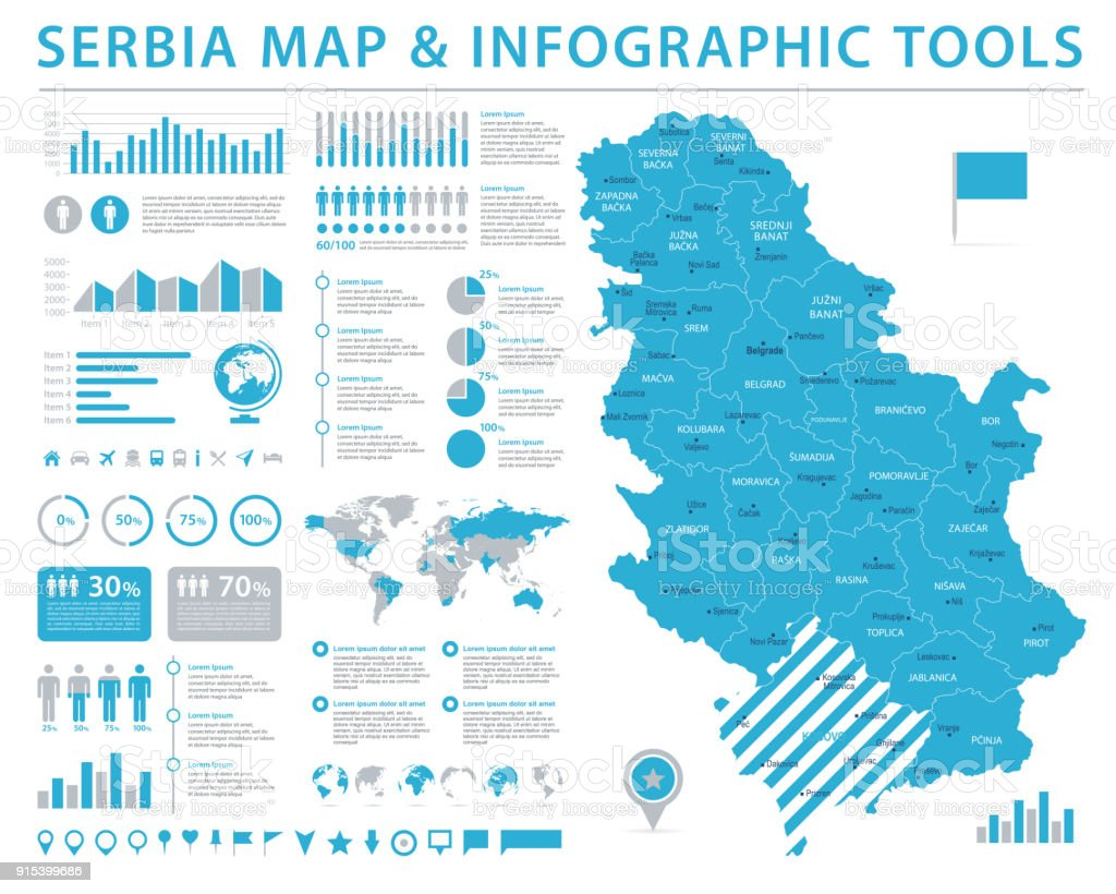 Serbia Map - Info Graphic Vector Illustration royalty-free serbia map info graphic vector illustration stock illustration - download image now