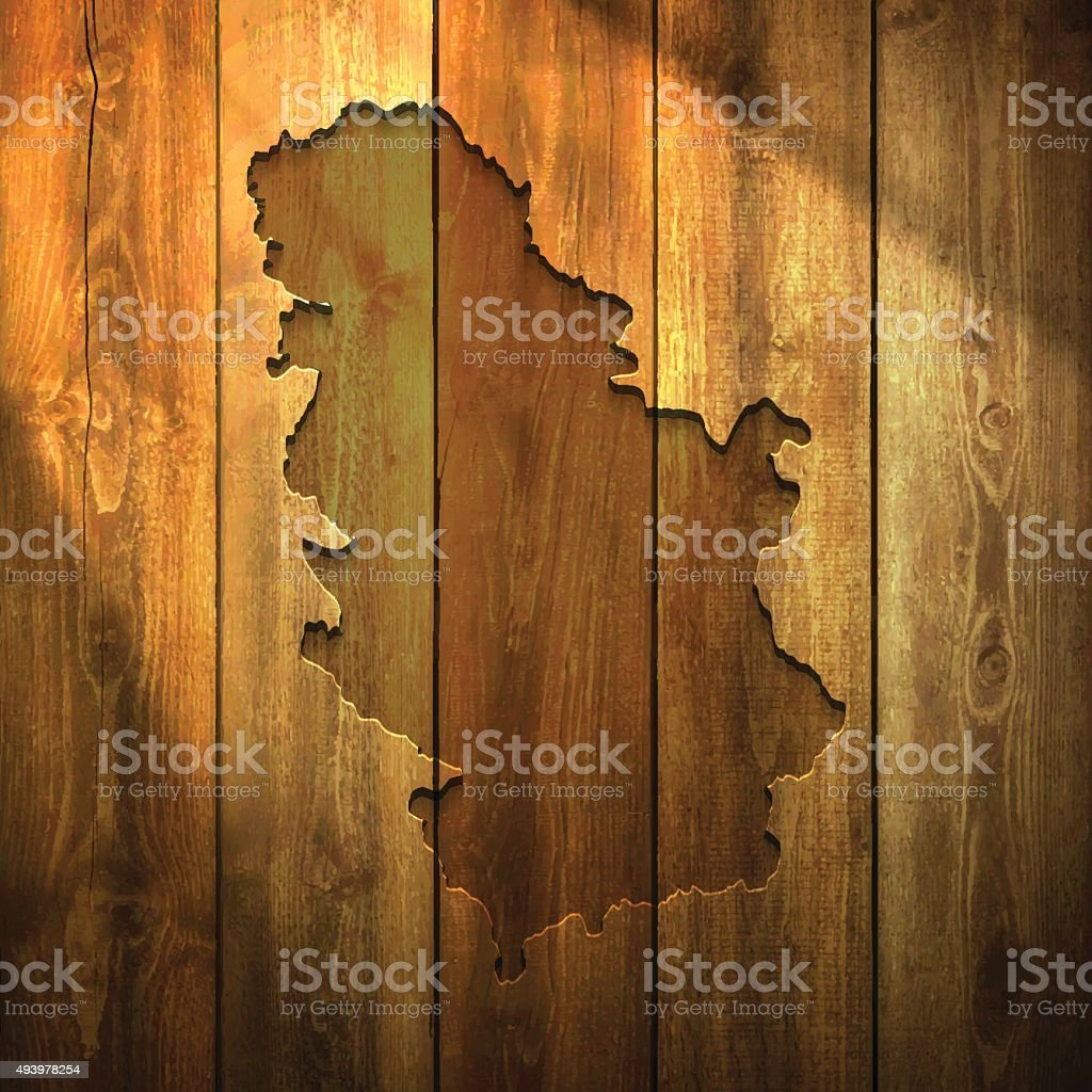 Serbia Map on lit Wooden Background vector art illustration