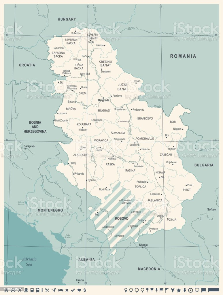 Serbia Map - Vintage Detailed Vector Illustration vector art illustration