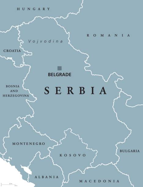Serbia political map with capital Belgrade vector art illustration