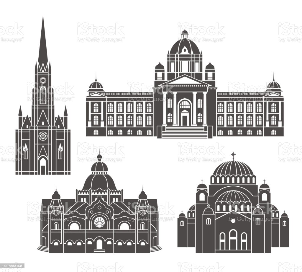 Serbia set. Isolated Serbia architecture on white background vector art illustration