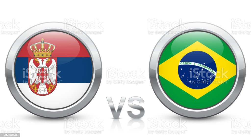 Serbia vs. Brazil - Match 41 - Group E - 2018 tournament. Shiny metallic icons buttons with national flags isolated on white background. royalty-free serbia vs brazil match 41 group e 2018 tournament shiny metallic icons buttons with national flags isolated on white background stock illustration - download image now