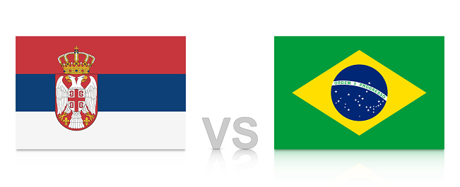 Serbia vs. Brazil. Russia 2018. National flags with reflection isolated on white background.
