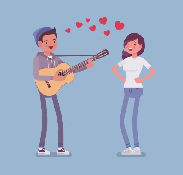 Serenade dating couple vector art illustration