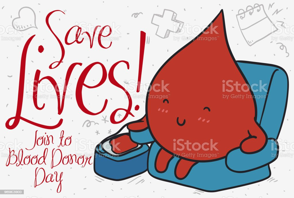 Serene Blood Drop Donating During Blood Donor Day - Royalty-free Alertness stock vector