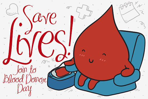 Serene Blood Drop Donating During Blood Donor Day Stock Illustration - Download Image Now