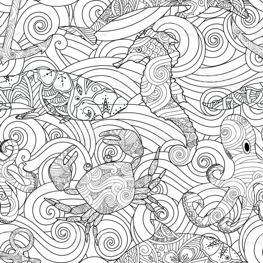 Serene Hand Drawn Outline Seamless Pattern With Waves Sea Animals