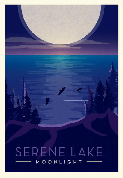 Serene night time landscape with full moon above lakebed and birds scenic poster design with text Vector illustration of a Serene night time landscape with full moon above lake bed and birds scenic poster design with text. Vintage texture overlay. Fully editable EPS 10. adventure backgrounds stock illustrations