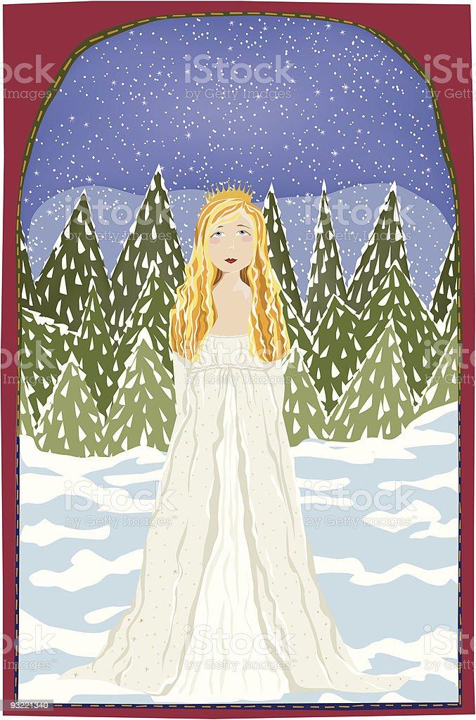 Serene Winter Princess royalty-free stock vector art