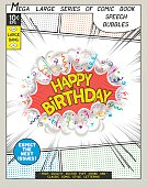 Happy birthday. Explosion in comic style with lettering and realistic puffs smoke. 3D vector pop art speech bubble