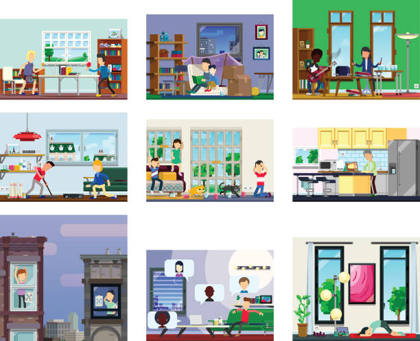 series of activities from home, exercising, socialising and hobbies. - e-learning not icons stock illustrations