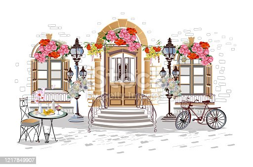 istock Series of backgrounds decorated with flowers, old town views and street cafes. 1217849907