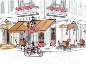 Series of backgrounds decorated with flowers, old town views.
