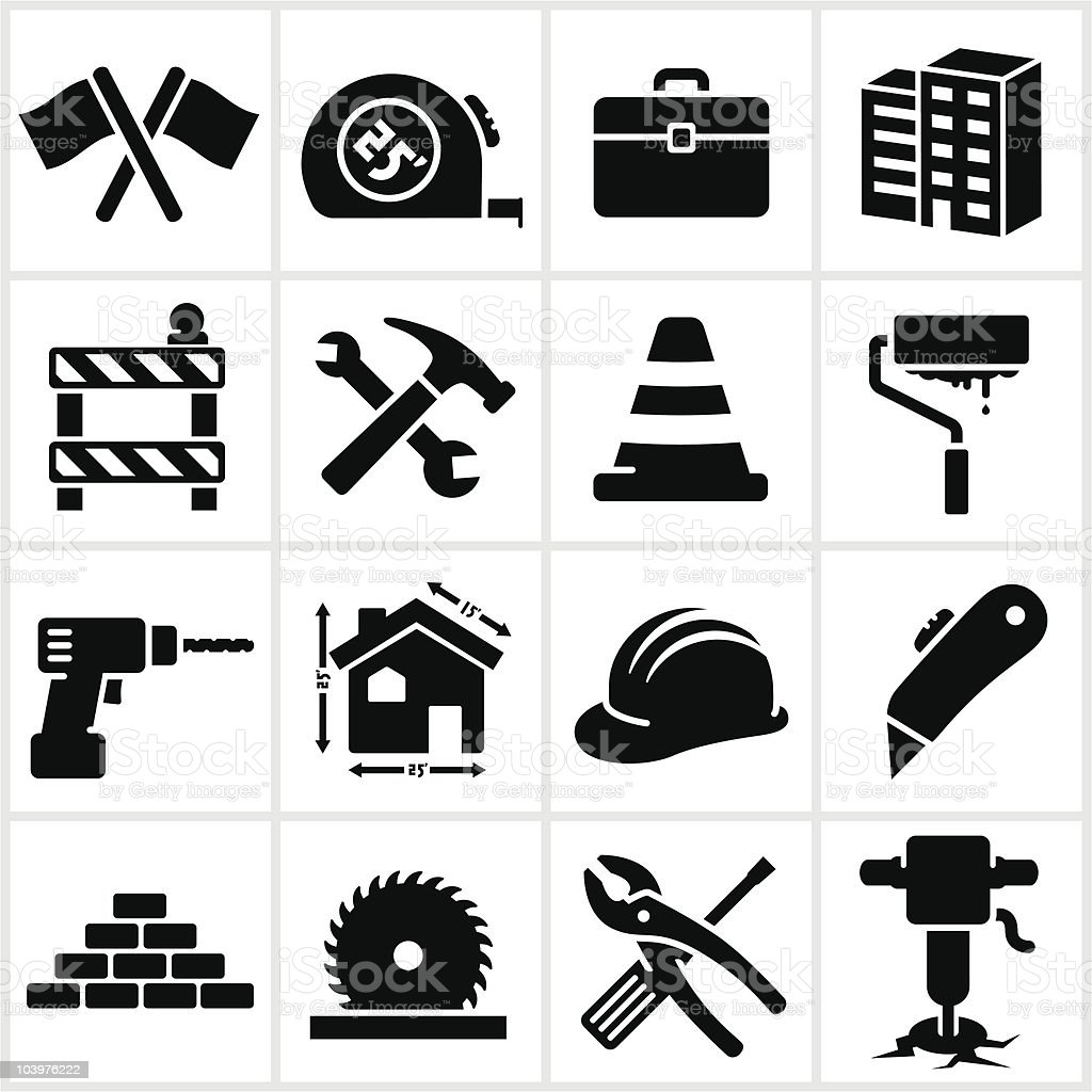 Series of black construction icons vector art illustration