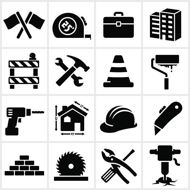 reihe von schwarzen construction icons - ziegelwände stock-grafiken, -clipart, -cartoons und -symbole